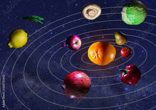 Fototapety, obrazy: fruits and vegetables on a dark background in space isolates