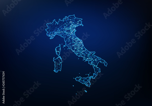 Obraz na plátně Abstract of italy map network, internet and global connection concept, Wire Frame 3D mesh polygonal network line, design sphere, dot and structure