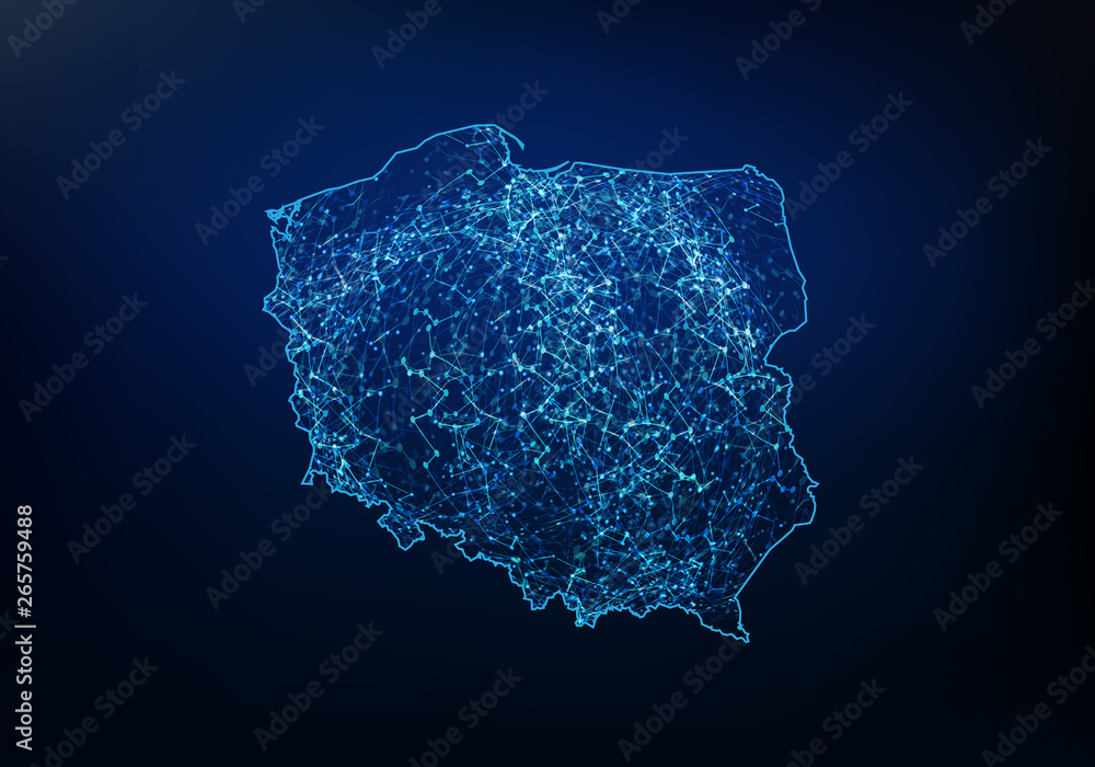 Fototapety, obrazy: Abstract of poland map network, internet and global connection concept, Wire Frame 3D mesh polygonal network line, design sphere, dot and structure. Vector illustration eps 10.