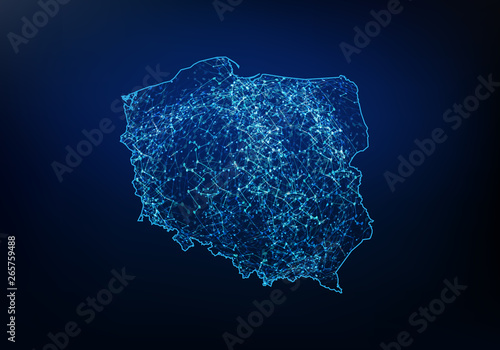 Fotomural Abstract of poland map network, internet and global connection concept, Wire Frame 3D mesh polygonal network line, design sphere, dot and structure