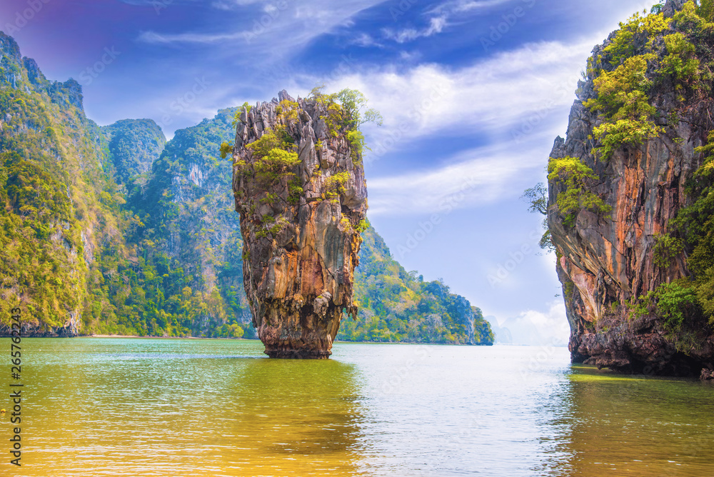 Fototapety, obrazy: Phuket Thailand nature. James Bond island in Phang Nga bay. Thai scenic exotic landscape of tourist destination famous place - Image