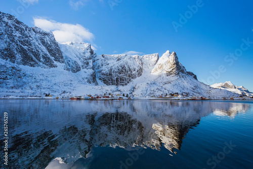 Foto op Aluminium Arctica A small settlement by the sea in a quiet bay