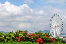 City Under The Blue Sky White Cloud Ferris Wheel