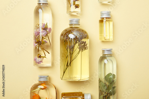 top view of transparent bottles with natural beauty products and dried wildflowe Canvas Print