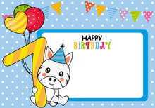 Happy Birthday Card. Zebra With Balloons And The Number Seven. Space For Photo Or Text