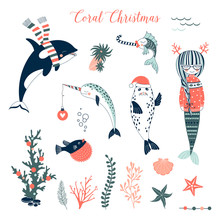 Sea Christmas Concept Clip Arts Set. Mermaid In Pullover, Seal In Santa Hat, Narwhal With Decoration Ball, Whale In Stripy Scarf Cartoon Illustration Kit. Underwater Creatures Celebrating Merry Xmas.