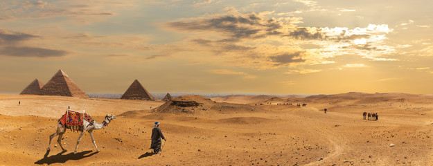 The Pyramids of Giza, desert panorama with the bedouins, Egypt