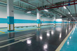 Underground parking and ceiling piping systems.