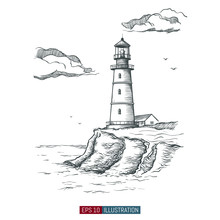 Hand Drawn Lighthouse. Templat...