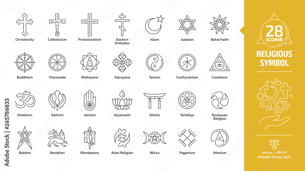 Fototapety, obrazy: Religious symbol editable stroke outline icon set with christian cross, islam crescent and star, judaism star of david, buddhism wheel of dharma, taoism yin and yang religion line sign.