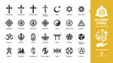 Religious symbol glyph icon set with christian cross, islam crescent and star, judaism star of david, buddhism wheel of dharma, hinduism aum letter religion silhouette sign.