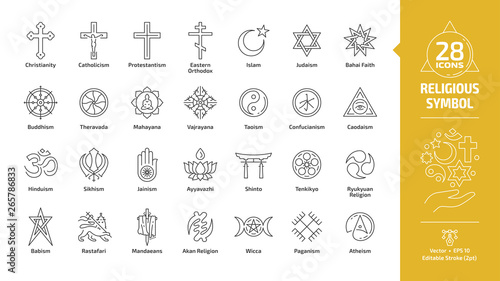 Religious symbol editable stroke outline icon set with christian cross, islam crescent and star, judaism star of david, buddhism wheel of dharma, taoism yin and yang religion line sign Fototapete