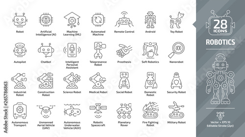 Robotics industry editable stroke outline icon set with industrial, construction, science, medical social, domestic, security, military, fire fighting robot and more tech line symbols Fototapete