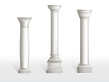 Ancient Columns Set Isolated On White Background. Antique Classic Stone Ornate Pillars Of Roman Or Greece Architecture For Interior Or Facade. Joinery Vintage Elements Realistic 3d Vector Illustration