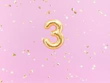 Three Year Birthday. Number 3 ...