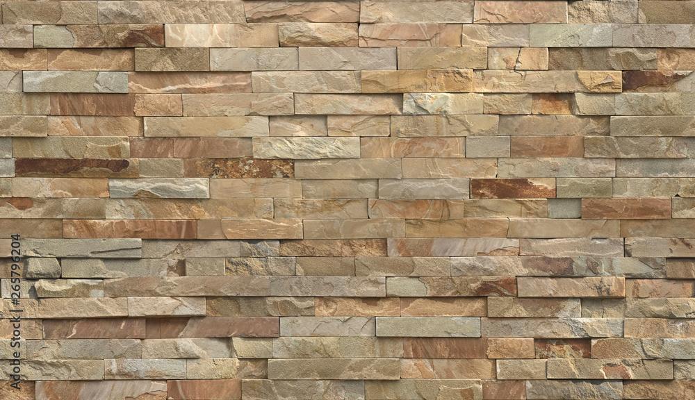 Fototapeta Stripe stone wall pattern, seamless texture.