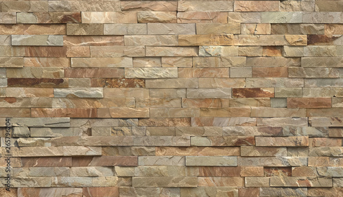 Stripe stone wall pattern, seamless texture. - 265796204
