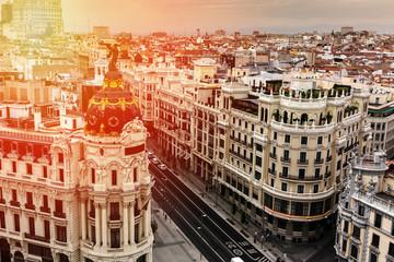 Panoramic aerial view of Gran Via, Madrid, capital of Spain, Europe