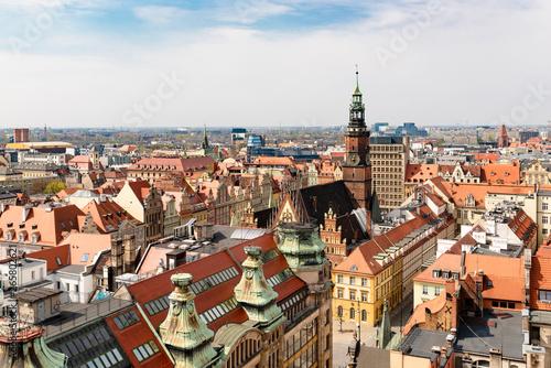 Fototapeta Widok na rynek starego miasta we Wrocławiu  obraz