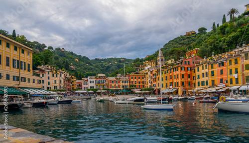 Canvas Prints Liguria Fantastic summer panorama of Portofino town. Splendid morning scene of Mediterranean sea, Liguria, province of Genoa, Italy, Europe. Traveling concept background.