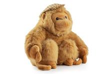 Monkey Doll Plush Toy Studio Isolated. Chimpanzee, Jocko, Gorilla, Anthropoid, Hominids