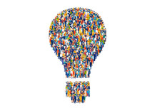 Vector Of Diverse Group Of People Shaped As A Light Bulb
