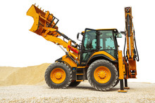 Backhoe Loader Or Bulldozer - Excavator Isolated With Clipping Path