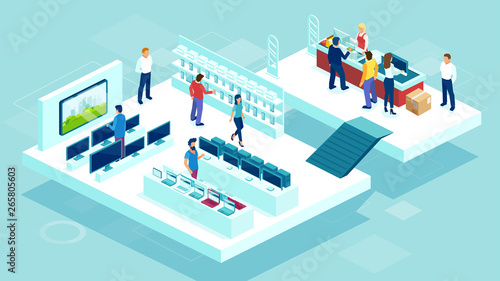 Fotografie, Obraz  Vector of people shopping in a mall consumer electronics department