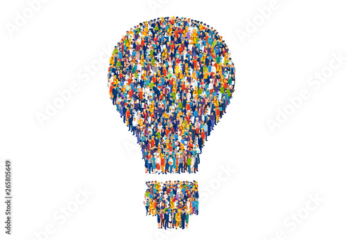 Foto Vector of diverse group of people shaped as a light bulb
