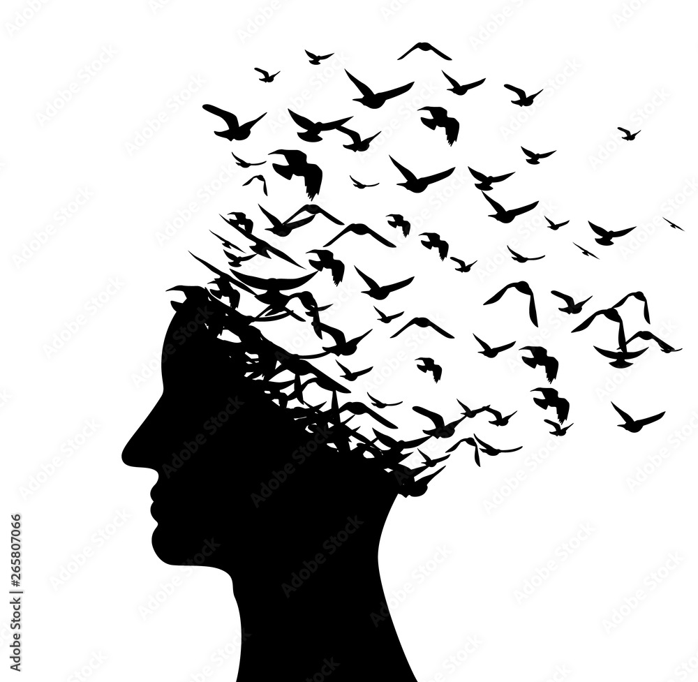 Fototapety, obrazy: Head with flying birds . Vector isolated decoration element from scattered silhouettes. Conceptual illustration of creative thinking, brainpower and  innovation exploration.