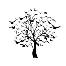 Tree With Flying Around Birds. Vector Isolated Decoration Element From Scattered Silhouettes. Conceptual Illustration Of Growth And Life .