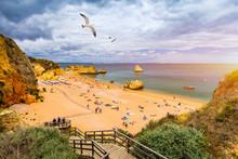 Wooden Walkway To Famous Praia...
