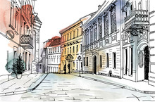 Old City Street In Hand Drawn Line Sketch Style. Urban Romantic Landscape. Vilnius. Black And White Vector Illustration On Watercolor Background