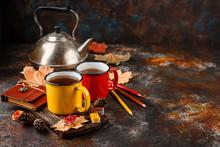 Enameled Cup Of Hot Tea