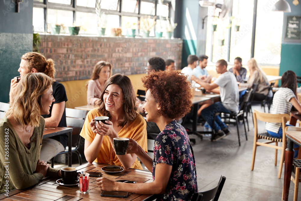 Fototapeta Three Young Female Friends Meeting Sit At Table In Coffee Shop And Talk