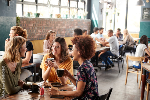 Fototapeta Three Young Female Friends Meeting Sit At Table In Coffee Shop And Talk obraz