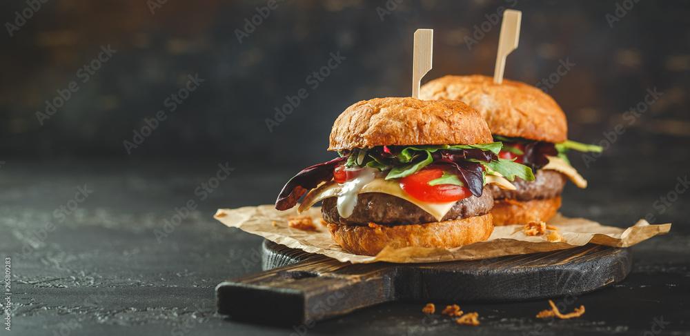 Fototapety, obrazy: Two homemade burger