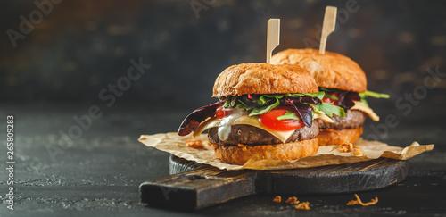 Photo  Two homemade burger