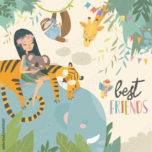 Pretty girl with cartoon animal. Happy friends