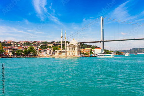 Wall Murals Old building Panoramic view of Istanbul. Panorama cityscape of famous tourist destination Bosphorus strait channel. Travel landscape Bosporus, Turkey, Europe and Asia.