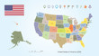 Map of The United States of America Different Colors For Each Countries With USA Flag And Locator Collection