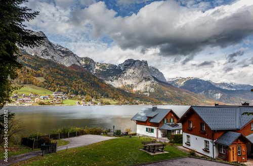 Photo Stands Europa Beautiful Alpine Landscape with green hills and Mountain Lake