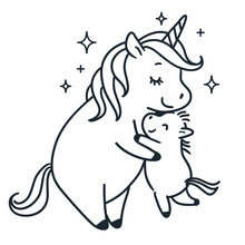 Mother Unicorn Giving A Hug To Her Baby Simple Black And White Doodle Cartoon Vector Character Illustration. Love, Parenting, Mother's Day, Happy Family, Children Decor, Greeting Card, Coloring Page.