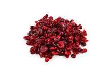 Dried Cranberries Isolated On White Background.