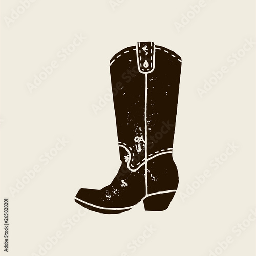 Valokuva  Cowboy boots silhouette in retro style