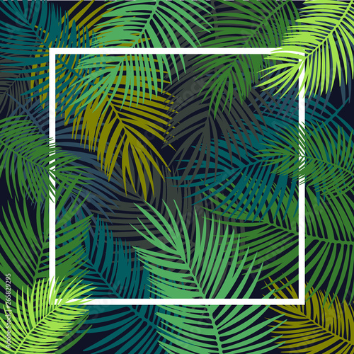 Spoed Fotobehang Tropische Bladeren Tropical leaves background, flyer template, illustration