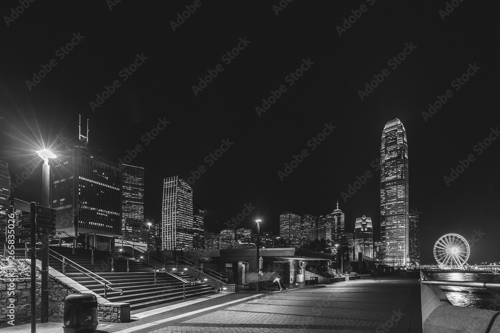 Fototapeta Hong Kong night view in Black and white