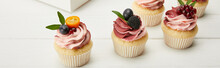 Panoramic Shot Of Cupcakes Wit...