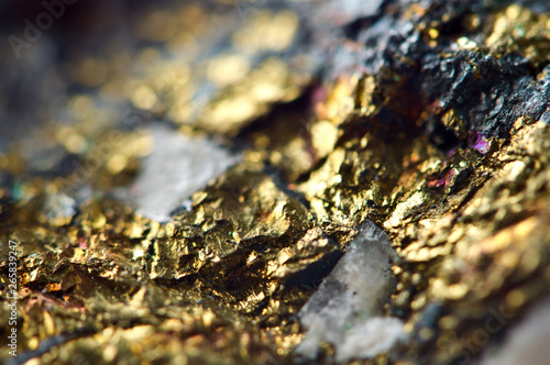 Fotografia, Obraz  Golden background. Gold nugget. Macro