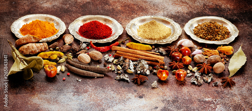 Fototapeta Indian Spices, spicy and seasonings in bowls, top view  flat lay.  spice banner obraz